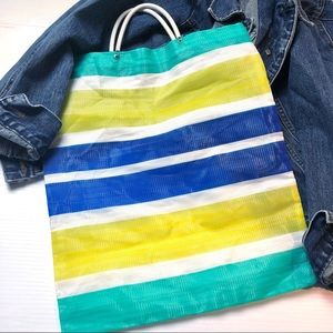RECYCLED Eco Friendly Woven Color Block Tote Bag